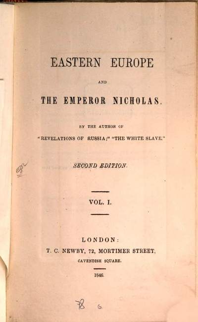 Eastern Europe and the Emperor Nicholas :By the author of