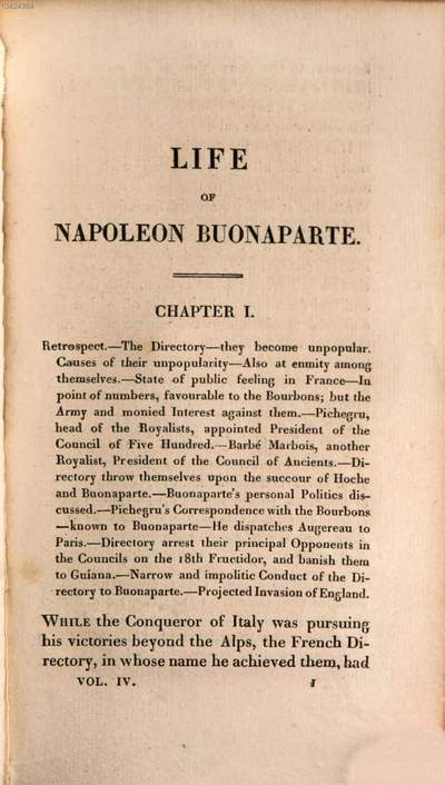 ˜Theœ life of Napoleon Buonaparte, emperor of the French :with a preliminary view of the French revolution ; in nine volumes. 4