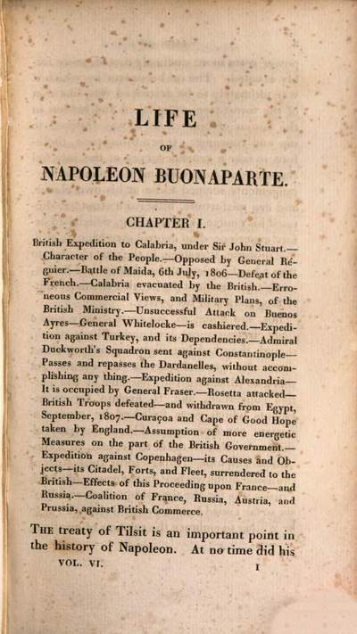 ˜Theœ life of Napoleon Buonaparte, emperor of the French :with a preliminary view of the French revolution ; in nine volumes. 6