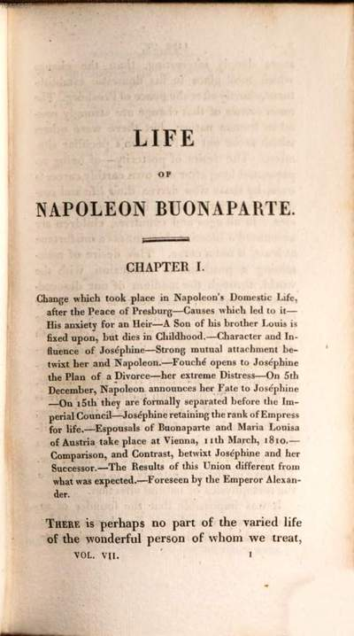 ˜Theœ life of Napoleon Buonaparte, emperor of the French :with a preliminary view of the French revolution ; in nine volumes. 7
