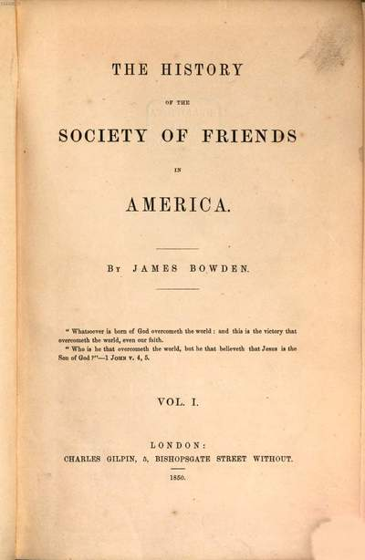 ˜Theœ History of the Society of Friends in America. 1