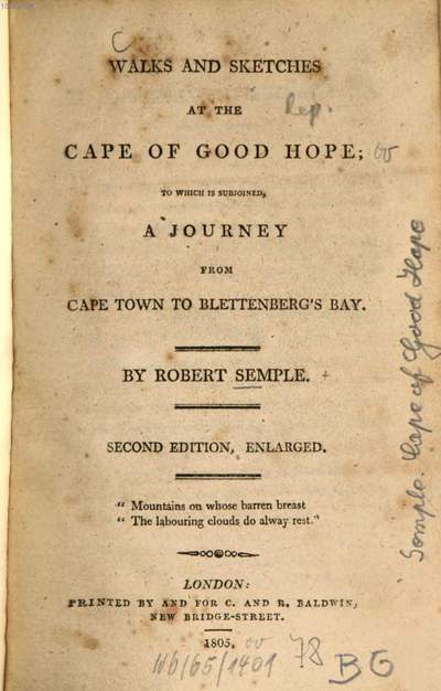 Walks and sketches at the Cape of Good Hope :to which is subjoined a journey from Cape Town to Blettenberg's Bay