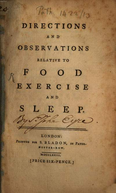 Directions and Observations relative to food exercise and sleep