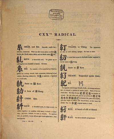 ˜Aœ dictionary of the chinese language :in three parts ; first part containing Chinese and English, arranged according to the radicals, second part, Chinese and English arranged alphabetically and third part English and Chinese. 1,3