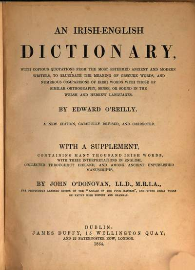 ˜Anœ Irish-English dictionary :with copious quotations from the most esteemed ancient and modern writers, to elucidate the meaning of obscure words, and numerous comparisons of Irish words with those of similar orthography, sense, or sound in the Welsh and Hebrew languages