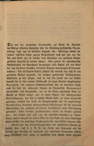 ˜Dieœ Städte Hamburg, Lübeck, das Fürstenthum Lübeck und der Wiener Friede vom 30. October 1864 :Nachtrag zu dem auf Grund des Allerhöchsten Erlasses vom 14. December 1864 vom Kronsyndicat erstatteten Rechtsgutachten