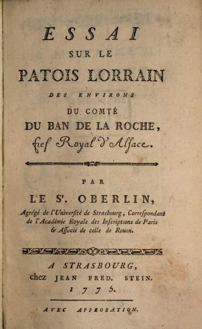 Essai sur le Patois Lorrain des environs du Comté du Ban de la Roche