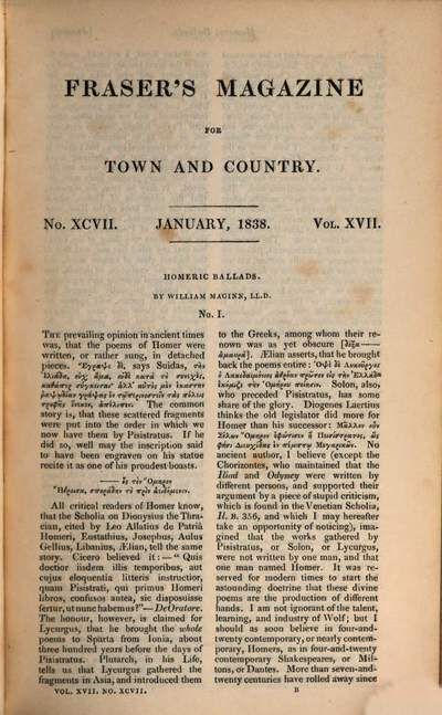 Fraser's magazine for town and country, 17. 1838, Jan. - June
