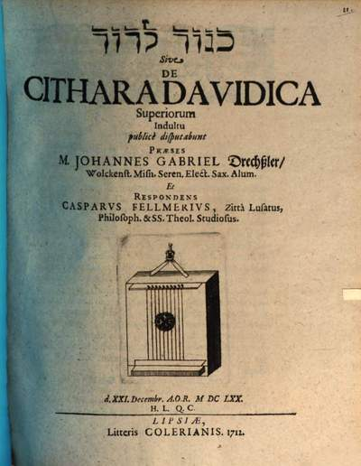 Kinnôr le-Dāwid sive de cithara Davidica