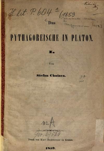 ˜Dasœ Pythagoreische in Platon :[Pythagoras; Plato]