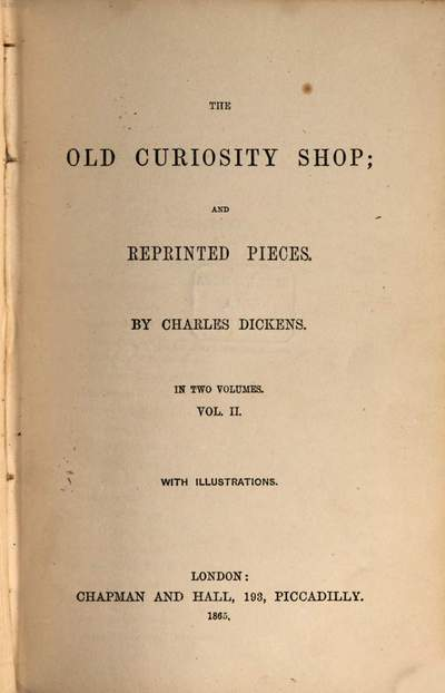 Works of Charles Dickens. 8, ˜Theœ old curiosity shop [Bd. 2] and reprinted pieces