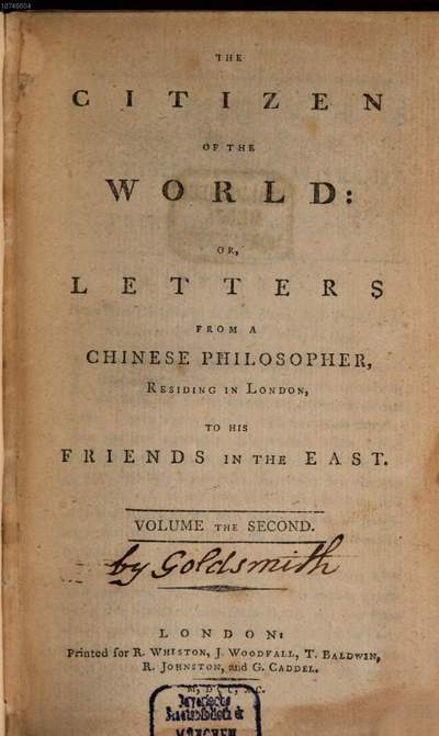 ˜Theœ Citizen Of The World Or Letters From A Chinese Philosopher Residing In London To His Friends In The East. 2