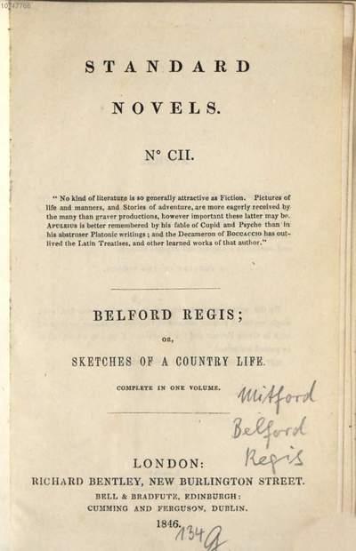 Belford Regis; or, Sketches of a Country Town :Mit ein. Tit. Kupfer. Standard Novels No CII