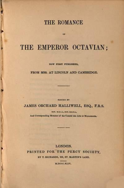 ˜Theœ romance of the emperor Octavian