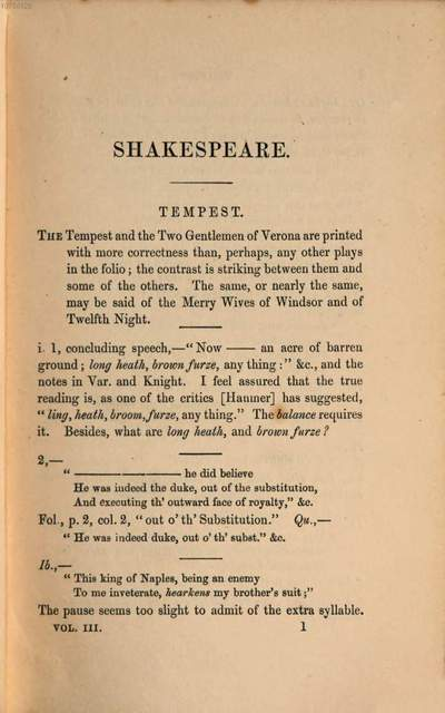 ˜Aœ critical examination of the text of Shakespeare :with remarks on his language and that of his contemporaries, together with notes on his plays and poems. 3