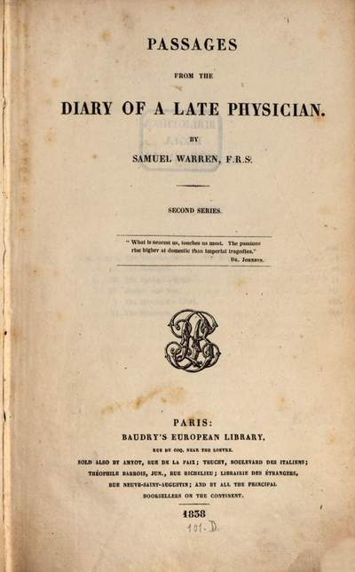Passages from the diary of a late physician :with notes and illustrations by the editor. 2