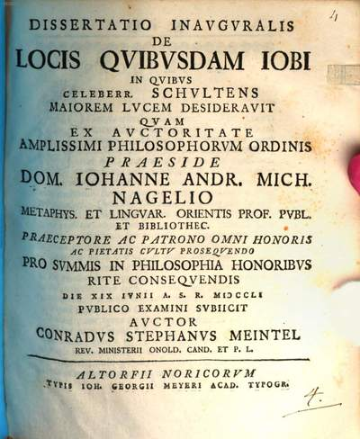 Dissertatio Inavgvralis De Locis Qvibvsdam Iobi, In Qvibvs Celeberr. Schvltens Maiorem Lvcem Desideravit