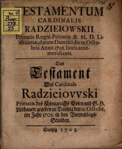 Testamentum Cardinalis Radzieiewskii