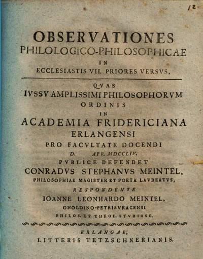Observationes Philologico-Philosophicae In Ecclesiastis VII. Priores Versvs