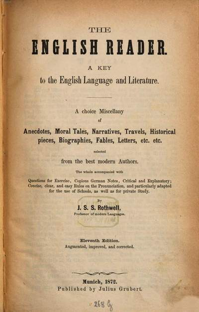 ˜Theœ English Reader :a Key in the English Language and Literature
