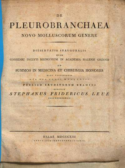 De pleurobranchaea, novo molluscorum genere :Diss. inaug. ; [cum tab.]