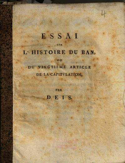 Essai sur l'histoire du ban ou du vingtième article de al capitulation