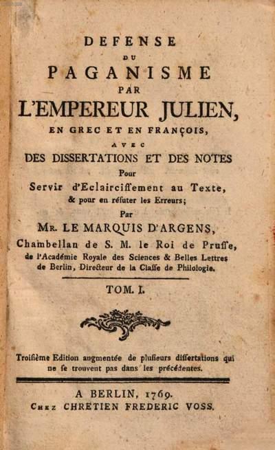 Defense du paganisme. 1. (1769). - 167 S.