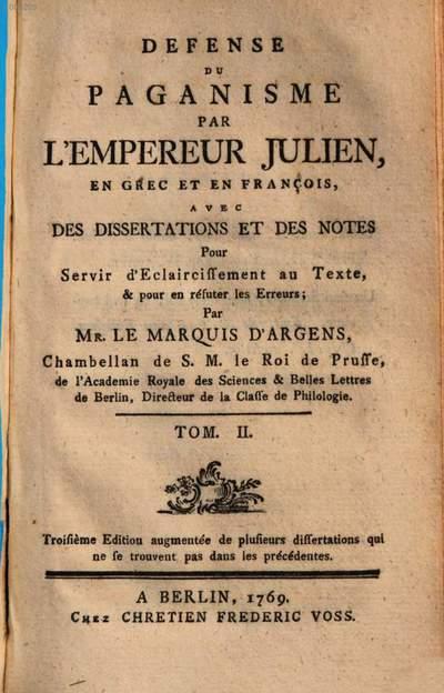 Defense du paganisme. 2. (1769). - 214 S.