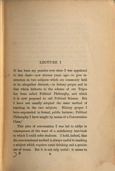 Introduction to political science :two series of lectures ; 1885, 1886