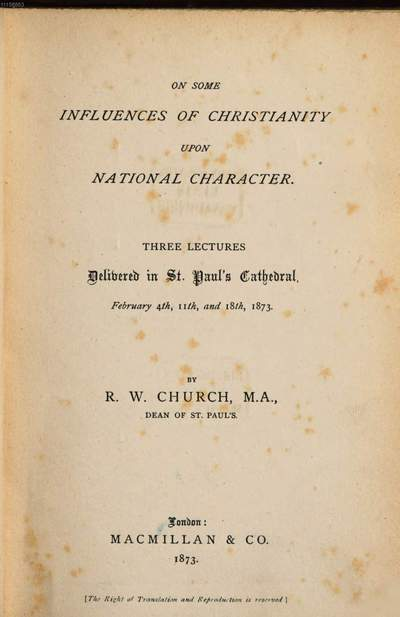 On some Influences of Christianity upon National Character :Three Lectures