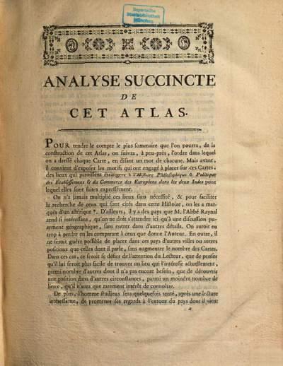Atlas De Toutes Les Parties Connues Du Globe Terrestre :Dressé Pour l'Histoire Philosophique Et Politique Des Établissemens Et Du Commerce Des Européens Dans Les Deux Indes. 0