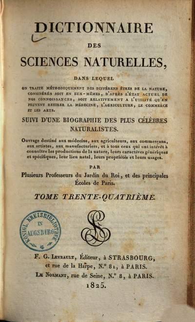 Dictionnaire des sciences naturelles :dans lequel on traite méthodiquement des différens êtres de la nature, considérés soit en eux-mêmes, d'après l'état actuel de nos conoissances, soit relativement a l'utilité qu'en peuvent retirer la médecine, l'agriculture, le commerce & les arts ; Suivi d'une biographie des plus célèbres naturalistes. 34
