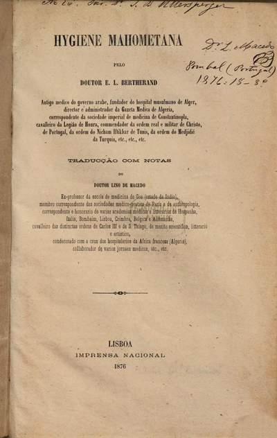 Hygiene mahometana :Traduecção com notas do doutor Lino de Macedo