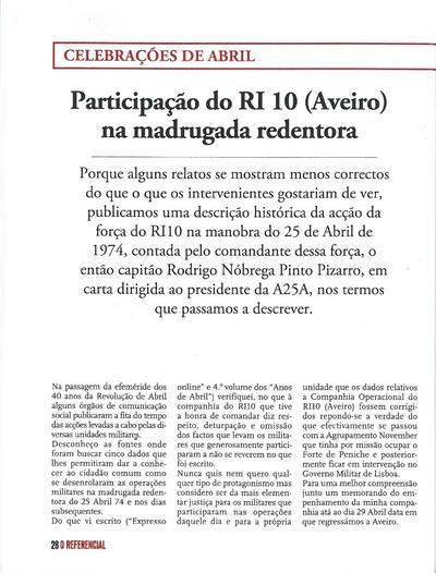 Participação do RI 10 (Aveiro) na madrugada redentora: celebrações de Abril