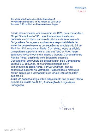 O Grupo Operacional 901 - Base Aérea 9 - Luanda em 25 de Abril de 1974: mensagem eletrónica de Vitor Lopes de Brito