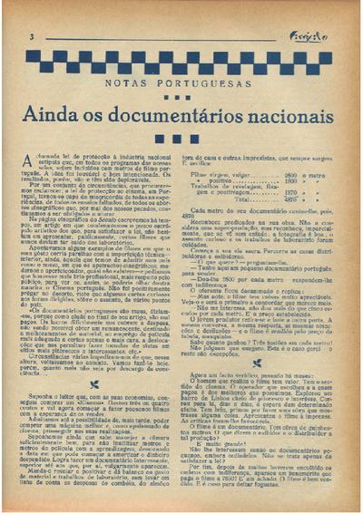 Ainda os documentários nacionais