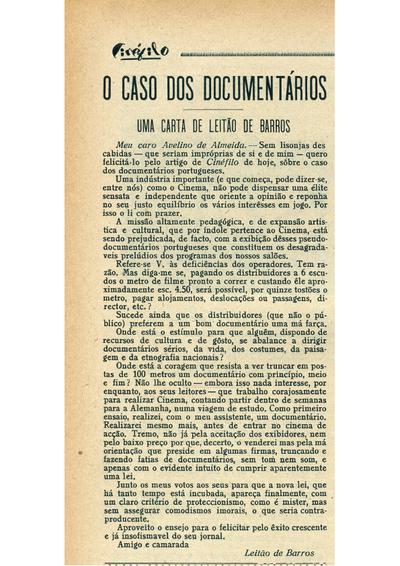 O caso dos documentários. Uma carta de Leitão de Barros