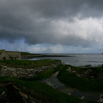 Panoramic Photography of link path 7-8 at Skara Brae