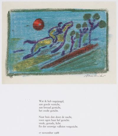 Prent en gedicht 'Ruiter in de Nacht'