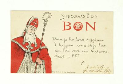 Briefkaart in de vorm van een Sint Nicolaasbon, Daar je het land krijgt aan 't trappen zend ik je hier een bon voor een automobiel.....PET je