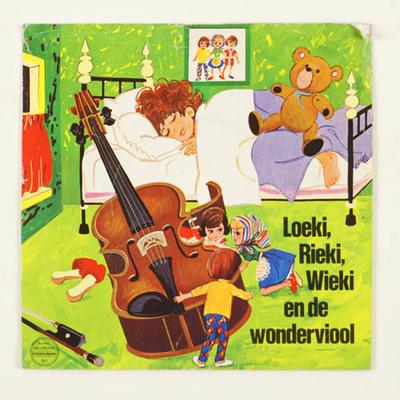 Grammofoonplaatje met verhaal van Loeki, rieki, Wieki en de wonderviool. reclame voor Bio-tex fabrieken