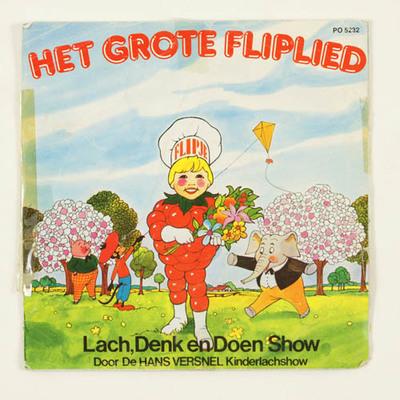 Grammofoonplaatje met verhaal van Het grote Fliplied reclame Betuwe jam, Tiel. De lach, denk en doen show, kinderlachshow