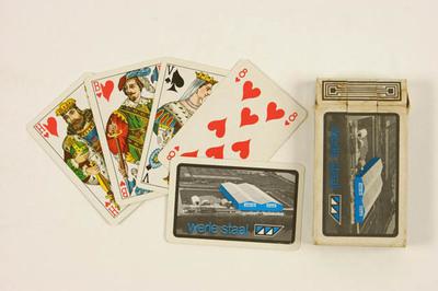 Kaartspel in doosje met reclame voor Werle Staal Deventer