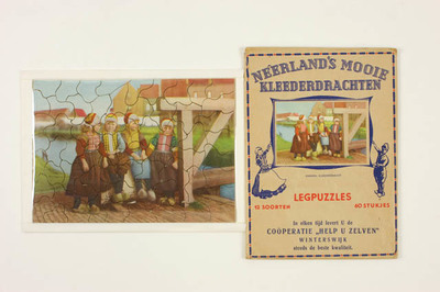 Elf puzzels uit serie van 12. Neerland's mooie kleederdrachten. Voor Coöperatie 'Help u Zelven', Winterswijk