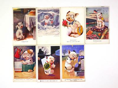 Veertien ansichtkaarten met afbeeldingen van Bonzo
