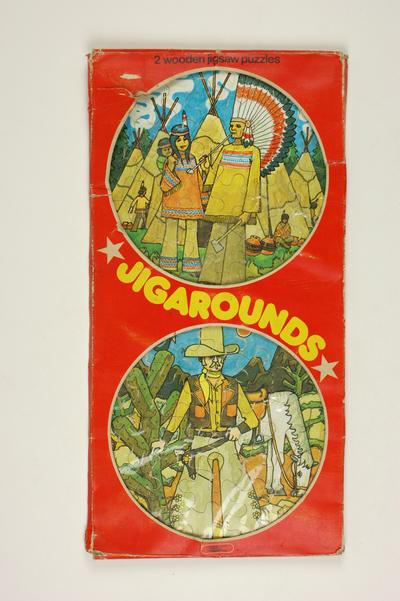 Jigaround of jig a round, ronde puzzel van een cowboy en een indiaan