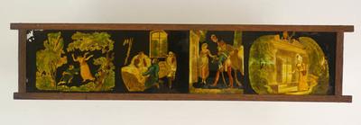 11 Toverlantaarnplaten behorende bij toverlantaarn S2013-0006. Langwerpige platen met gedrukte ingekleurde afbeeldingen van religieuze scenes.