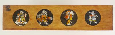 1 Toverlantaarnplaat behorende bij toverlantaarn S2013-0006. Gebrandschilderde plaatjes, 4 ronde in houten raam.