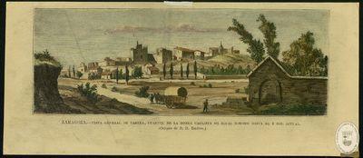 Zaragoza [Material gráfico]: Vista general de Fabara, cuartel de la ronda carlista de igual nombre hasta el 4 del actual