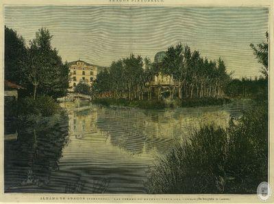 ALHAMA de Aragón (Zaragoza) [Material gráfico]: Las termas de Matheu: Vista del lago